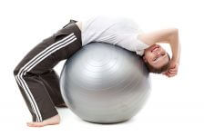 woman on exercise ball