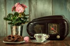 vintage radio and tea scene